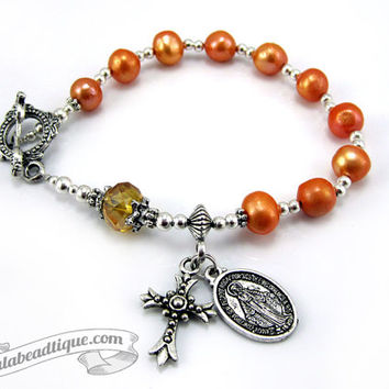 Miraculous medal bracelet rosary, catholic jewelry, one decade rosary, confirmation gift, pearl rosaries, orange rosary, catholic bracelet