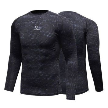 PEAPFS2 Fitness Compression Shirt Men Gym Sports Bodybuilding Long Sleeve 3D T Shirt Tops Shirts