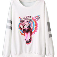 White Tiger Printed Sweatshirt