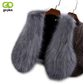 GOPLUS 2018 New Winter Women's Faux Fox Fur Vest Long Furry Shaggy Woman Fake Fur Vest Fashion Plus Size Fur Vests High Quality