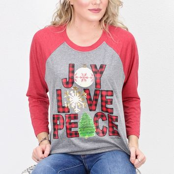 Joy Love Peace Raglan {Grey/Red}