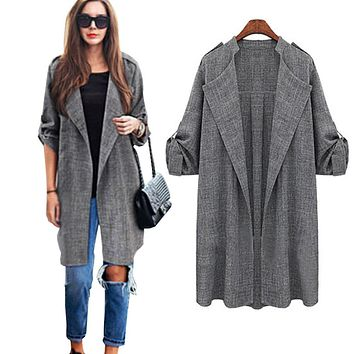 New arrival 2016  Korean Style Womens Open Front Coat Long Cloak Jackets Overcoat Waterfall Cardigan Women basic coats