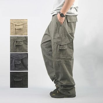 Men's Cargo Pants Casual Mens Pant Multi Pocket Military Overall Men Outdoors High Quality Long Trousers Plus Size