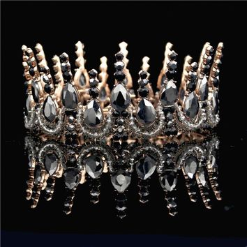 Vintage Black Crystal Gold Wedding Cosplay Renaissance Medieval King Crown Princess Queen Tiaras and Crowns