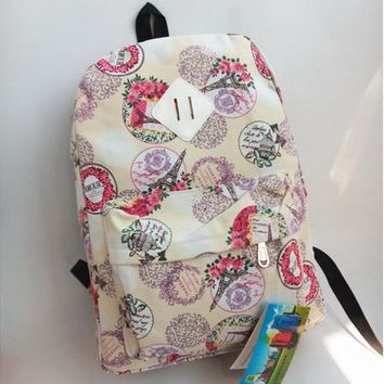 Ms unisex casual canvas backpack backpack bag bag students Beige print