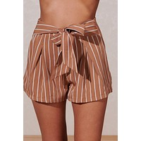Time To Explore Striped Shorts (Clay)