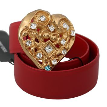 Dolce & Gabbana Red Leather Gold Heart Crystals Buckle Belt