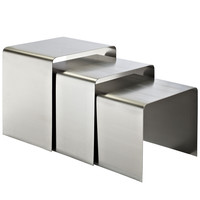 Rush Nesting Table in Brushed stainless steel