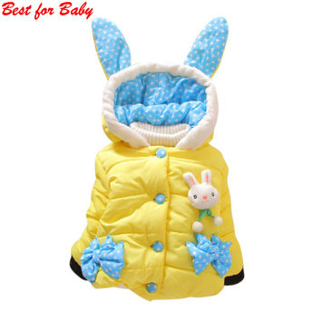Warm Outerwear Jacket Coat Baby Cute Winter Coat Hooded Jacket Cartoon Rabbit Children Outerwear