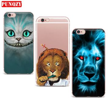 Case For iPhone 7 X 6S 6 5S SE 8 7 Plus 8 Plus 7 Case Hard PC Smart Mobile Phone Shell Pattern Tiger Wolf lion leopard Animal