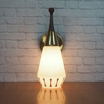 Vintage Midcentury Modern Wall Sconce Light Fixture / Retro Bowling Pin Style with Gold Bow Tie Design / Rewired for Plug In