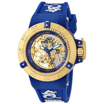 Invicta 16793 Women's Subaqua Noma III Skeleton Gold Dial Dark Blue Silicone Strap Dive Watch