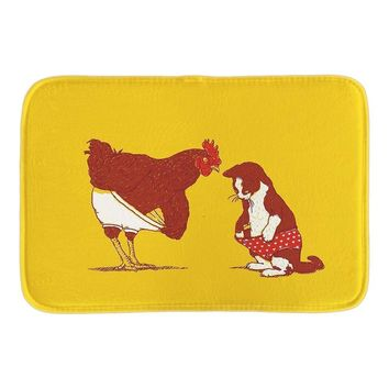 Cute Animals Doormat Cat And Chicken Show Me Yours And I'll Show You Mine Door Mat For Home Office Bedroom Short Plush Mats