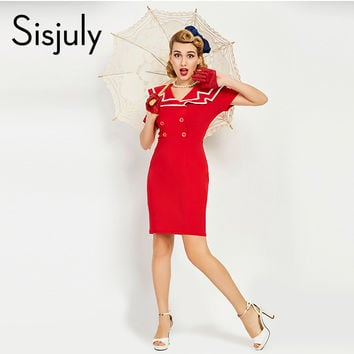 Sisjuly women luxury bodycon dress vintage nautical style button dresses summer female red retro pencil bodycon dress 2017 new