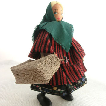 Vintage Doll, Folk art doll,  Souvenir Doll, Collectibles puppet, 70s from Europe, Folk Figurine Standing, Made in Poland