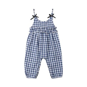 Newborn Baby Girl Plaid Strap Off Shoulder Backless Romper Summer Playsuit Sunsuit Clothes
