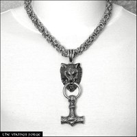Norse Mythology Giant Fenrir Wolf Head and Thor's Hammer With Thick Precision Made Chainmaille Necklace - All Premium Quality Stainless Steel