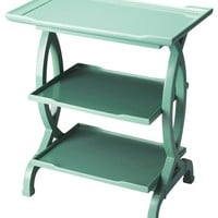 Kimiko Transitional Rectangular Side Table Green