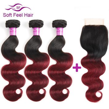 Soft Feel Hair Ombre Brazilian Human Hair Body Wave 3 Bundles With Closure T1B/Burgundy Non Remy Hair Weave Red Lace Closure