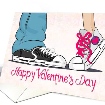 Boy and Girl Sneakers with Pink Background for Valentine's Day card