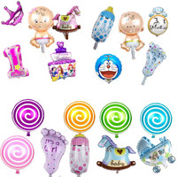 mini balloon baby shower party foil baby boy girl Lollipop crown bottle balloons 23 type Birthday Decoration baloes de festa