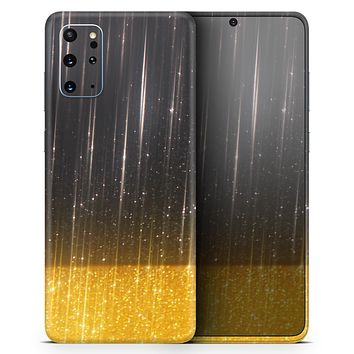 Scratched Surface with Glowing Gold Sparkle - Skin-Kit for the Samsung Galaxy S-Series S20, S20 Plus, S20 Ultra , S10 & others (All Galaxy Devices Available)