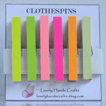Office, Hanging Photo , Party Favors - Decorative Clothespins - Set of 6