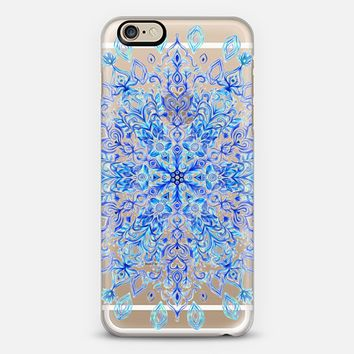 Crystal Cobalt Snowflake on transparent iPhone 6 case by Micklyn Le Feuvre | Casetify