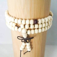 Soft Tone Natural Wood 108-Bead Prayer Bracelet w/ Tassel