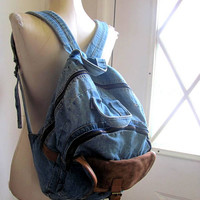 Vintage Blue Jean Denim Backpack