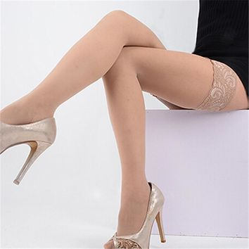 Fashion Sexy Stylist Ladies Women Lace Top Thigh High Stockings Silicon Strap Anti-d Thigh Nightclub Gift Drop Shipping