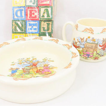 Bunnykins Cup and Bowl Set, Royal Doulton Bone China, Double Handled Mug, Outdoor Summer Scenes