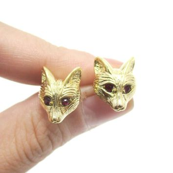 Detailed Wolf Fox Face Shaped Stud Earrings in Gold with Rhinestones | Animal Jewelry