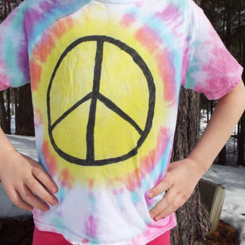 Custom Tie Dye Peace Sign- Kids Peace Sign Shirt- Peace Tshirt- Hippie Kids Clothes- Pastel Tie Dye- Boho Kids- Hippie Peace Sign Tshirt