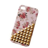 Floral Punk Rivets Cover for Iphone 4/4s