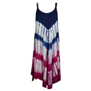 Mogul Womens Tie Dye Flare Sleeveless Boho Swing Dress Neck Embroidered Gypsy Hippie Chic Summer Fashion Cover Up Sundress - Walmart.com