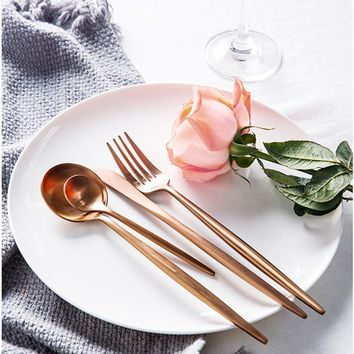 4 Pcs/set Rose gold colored Stainless Steel Dinnerware Set
