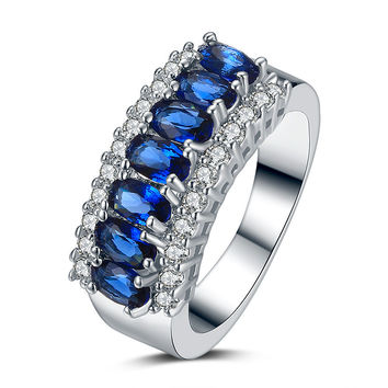 Stylish Gift Jewelry New Arrival Shiny Accessory Hot Sale Luxury Blue Crystal Gemstone Ring [4918344580]