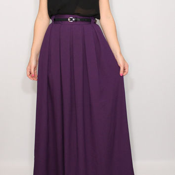 Maxi skirt Long purple skirt Women skirt Chiffon skirt High waisted maxi skirt with pockets