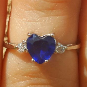 Sterling Silver Blue Sapphire Heart cut Kids and Ladies ring size 3-12