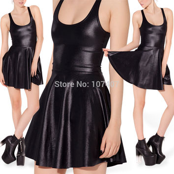 E7 Autumn Dress Faux Fur Wet Look Leather Skater Dress Pleated Dresses Black Dress Plus Size Women Clothing XXL XXXL