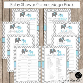 Elephant Baby Shower Games in Baby Blue and Gray, Baby Shower Activity Set Games, Bingo, Baby Animal Names, Price is Right  bge1 INSTANT