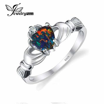 JewelryPalace Heart Cut 0.4ct Black Fire Opal Ring 100% 925 Sterling Silver Jewelry Multicolor Irish Claddagh Ring Big promotion
