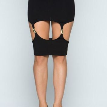 Black In Charge Suspender Skirt