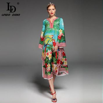 High Quality 2017 Summer Designer Runway Dress Women's Long Sleeve Split Parrot Floral Printed Casual Loose Mid-Calf Dress