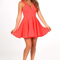 Back In Action Dress: Neon Coral - Casual - Dresses - Hope's Boutique