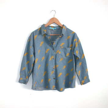 Retro Hipster Style Unique Womens Vintage Denim Shirt with Thunder Prints Light Blue Denim Top Boxy Oversized Button Up Denim Shirt