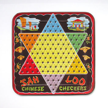 Vintage Chinese Checkers Board, San Loo Metal Chinese Checkers Game