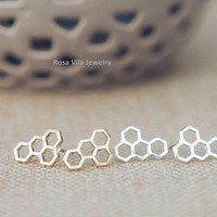 Honey Comb Earrings - Gold and Silver