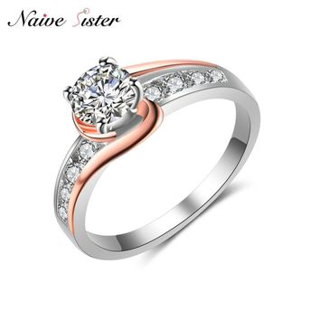 2 Tone Rose Gold Color Engagement Ring For Women Fashion Ladies Wedding Rings CZ Stone Cubic Zirconia Jewelry Love Gifts Anillos